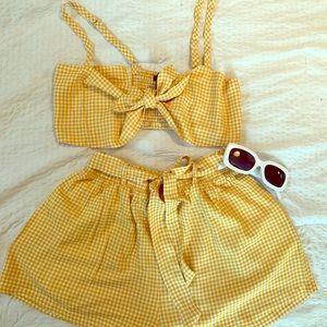 Yellow gingham short set